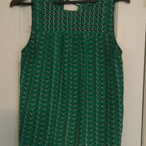 Green Kenar Smocked Sleeveless Blouse with Tie!